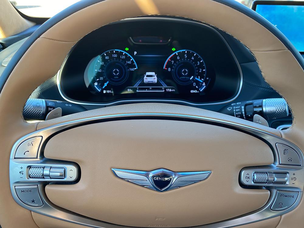 2021 Genesis GV80 steering wheel and gauge cluster