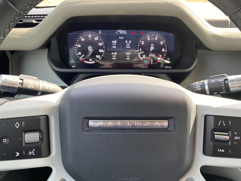 2020 Land Rover Defender 110 SE steering wheel and gauge cluster
