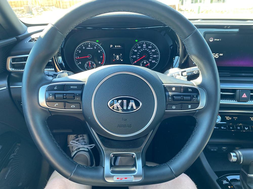 2021 Kia K5 GT steering wheel and gauge cluster