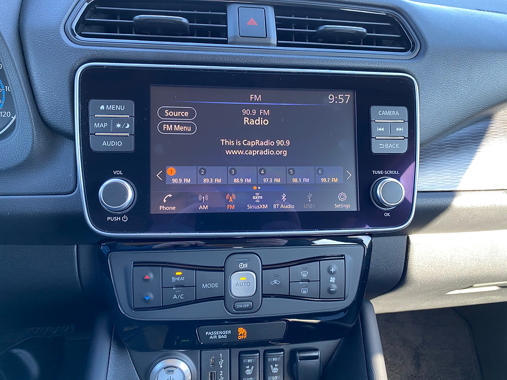 2021 Nissan Leaf SL Plus infotainment and HVAC