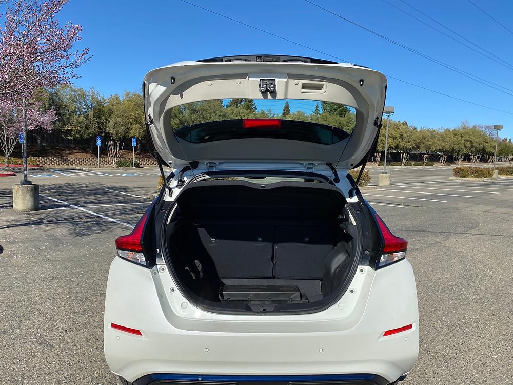 2021 Nissan Leaf SL Plus rear hatch open
