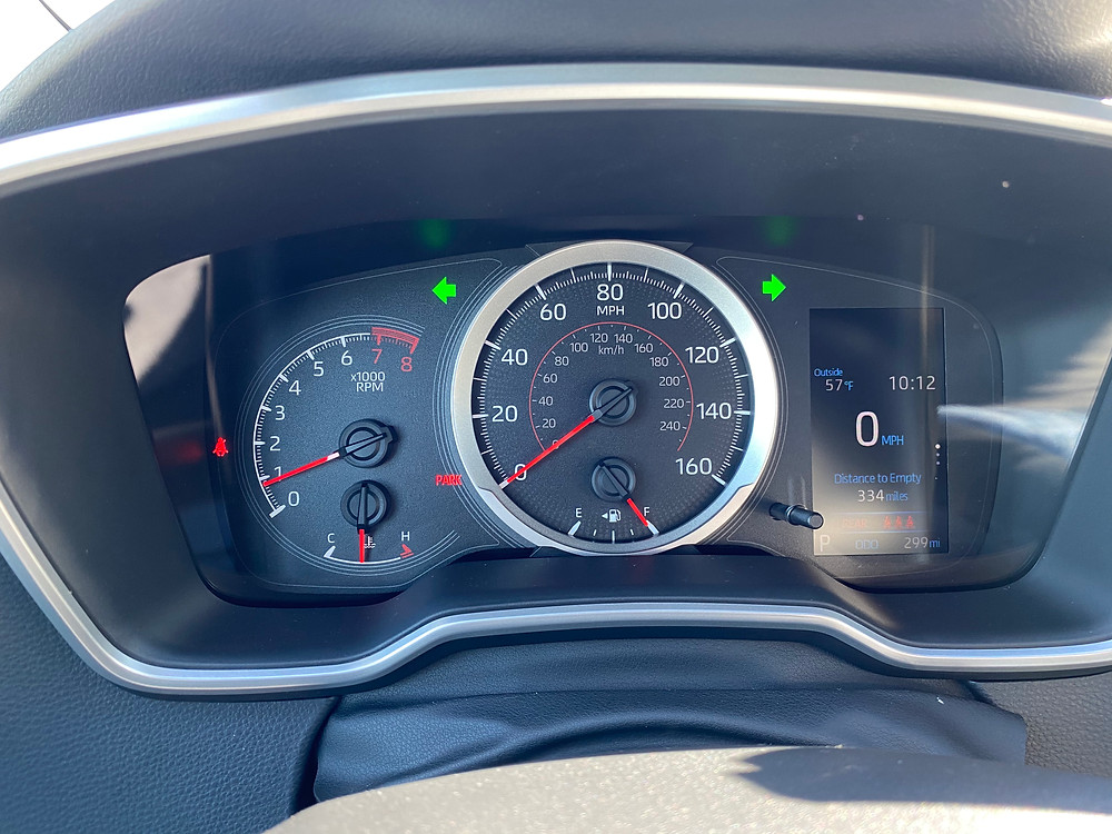 2021 Toyota Corolla Hatchback SE Nightshade gauge cluster