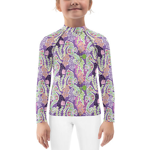 """Horsing Around"" Purple-Kids Rash Guard"