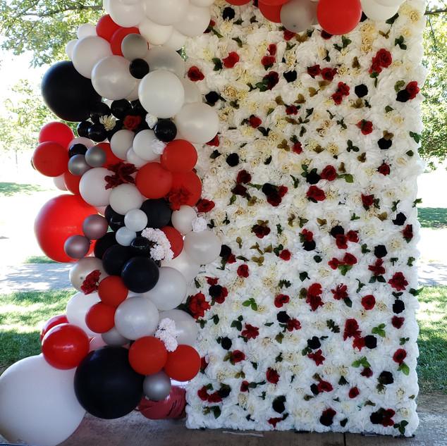 Flower Wall & Balloon Garland