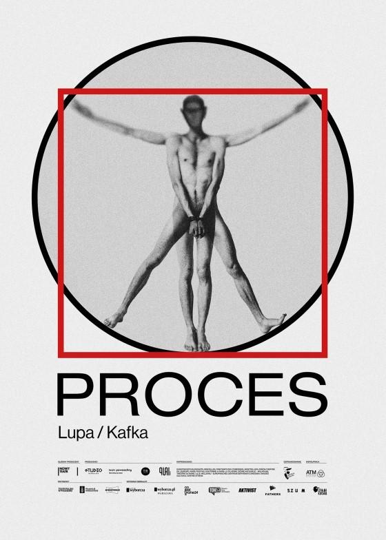 """Afisz przedstawienia """"Proces"""" Nowego Teatru w Warszawie"""