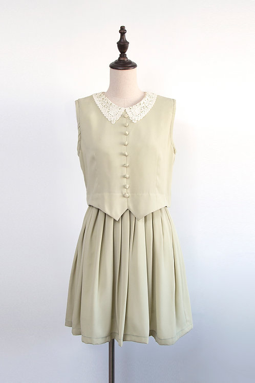 Vintage Matcha Latte Dress