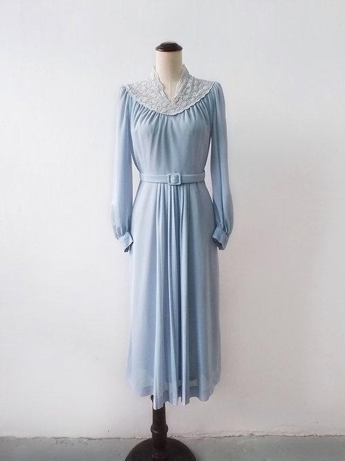 Vintage Misty Delphinium Dress