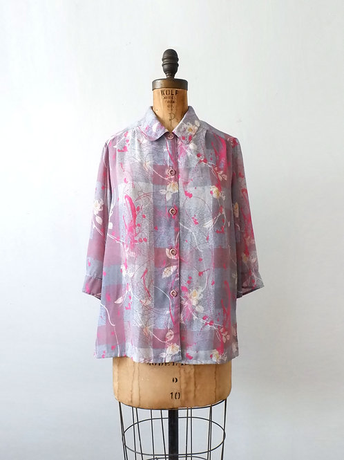 Vintage Abstract Floral Blouse