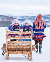Sami family on reindeer sledding ride