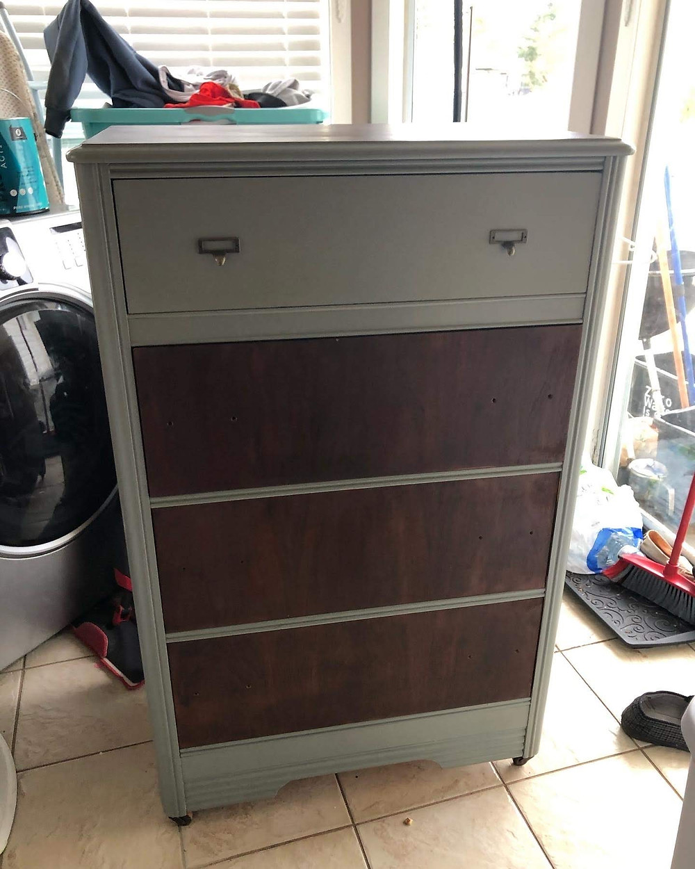 Before I had decided to rid this dresser of veneer