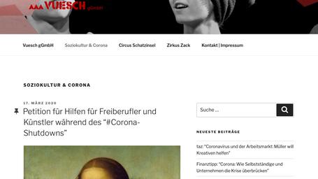 VUESCH Corona Info Blog für Künstler*innen und Freiberufler