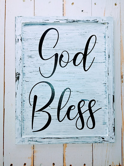 God Bless Rustic Wall Sign