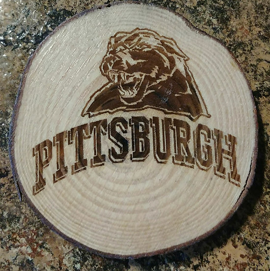 Pittsburgh Panther Live Edge Wood Coaster