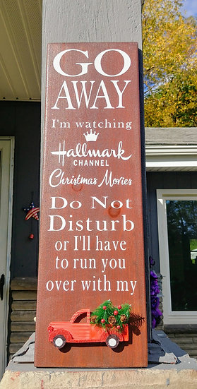 Welcome Fall and Go Away Hallmark double sided indoor/outdoor porch wood sign.