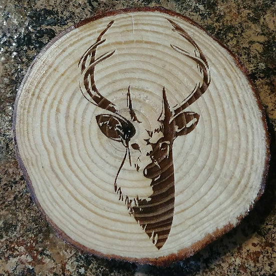 Deerhead Live Edge Wood Coaster