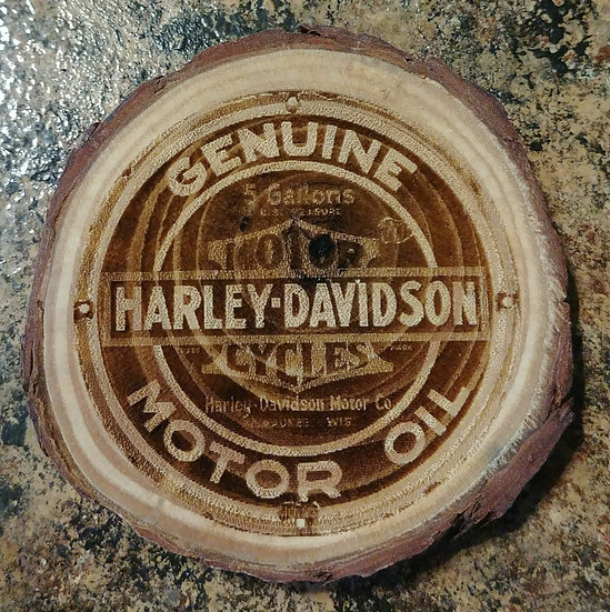 Harley Davidson Motor Oil Live Edge Wood Coaster