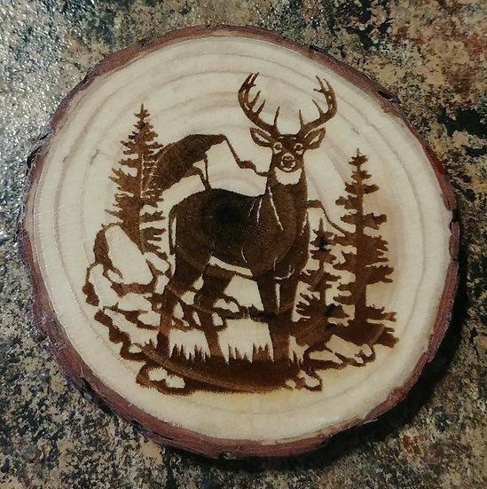 Deer Live Edge Wood Coaster
