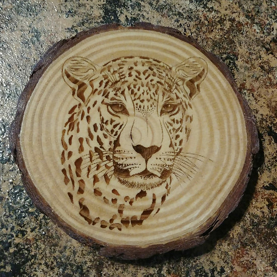 Lion Live Edge Wood Coaster