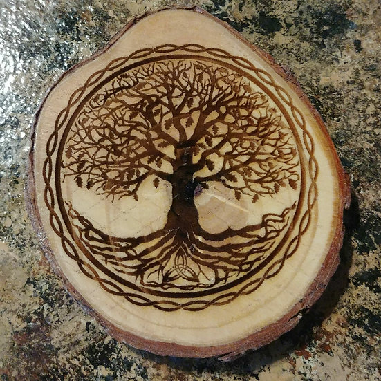 Tree Of Life Live Edge Wood Coaster