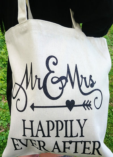 Mr. & Mrs. Happily Ever After Canvas Tote Bag