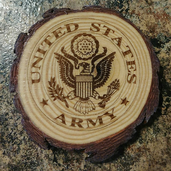 US Army Live Edge Wood Coaster