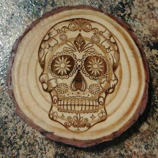 Sugar Skull 2 Live Edge Wood Coaster