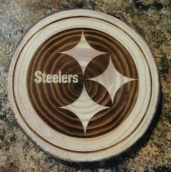 Steelers 2 Live Edge Wood Coaster