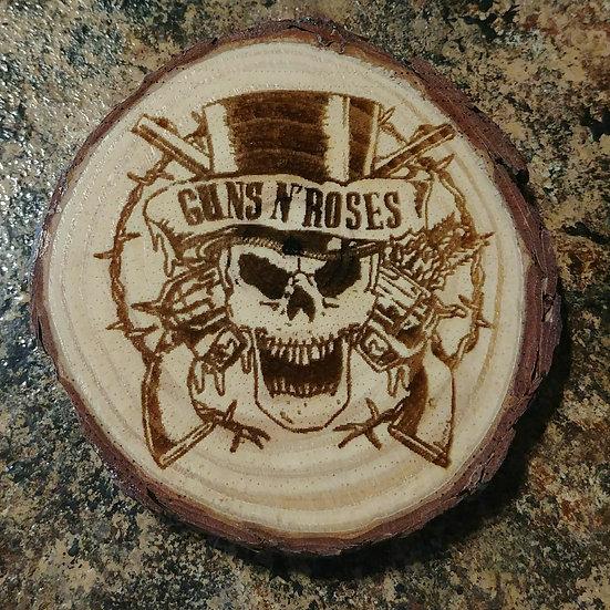 Guns N' Roses Live Edge Wood Coaster