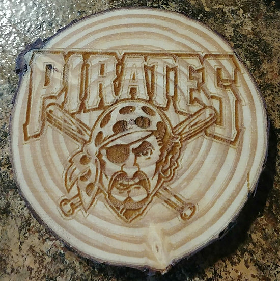 Pittsburgh Pirates Live Edge Wood Coaster