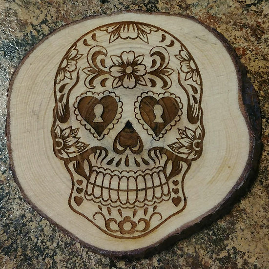 Sugar Skull 3 Live Edge Wood Coaster