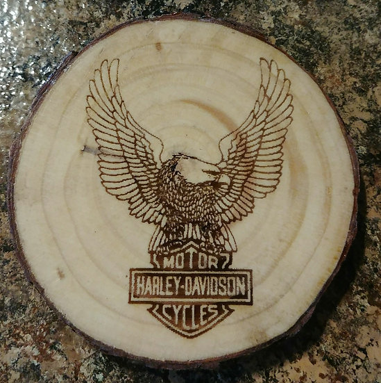 Harley Davidson Eagle Wings Live Edge Wood Coaster