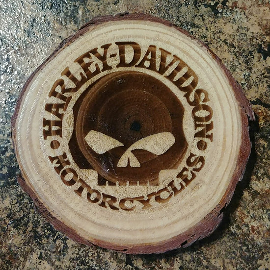 Harley Davidson Skull Live Edge Wood Coaster