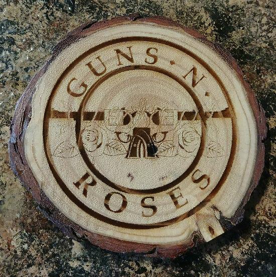 Guns N' Roses 2 Live Edge Wood Coaster