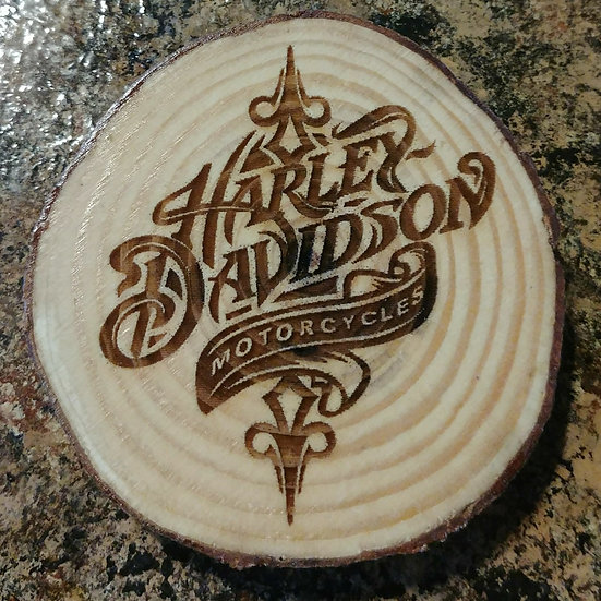 Harley Davidson Nautical Live Edge Wood Coaster