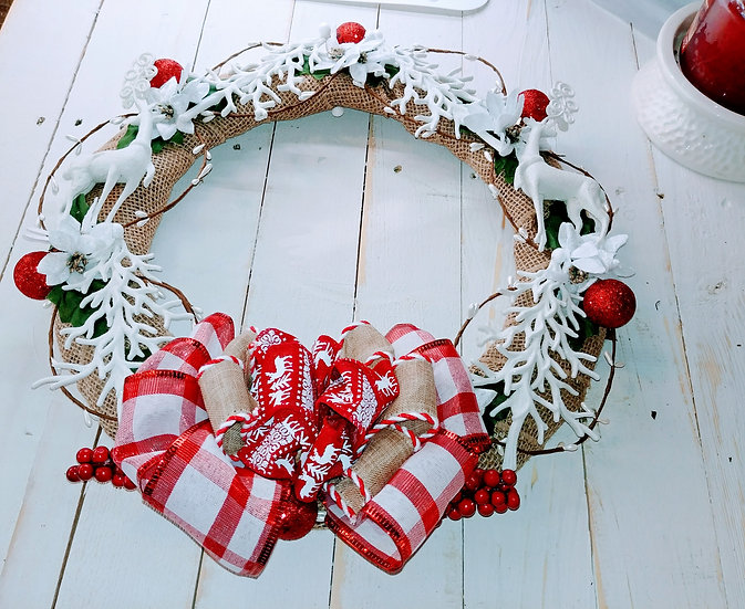 Trees and Deer Christmas Door Wreath