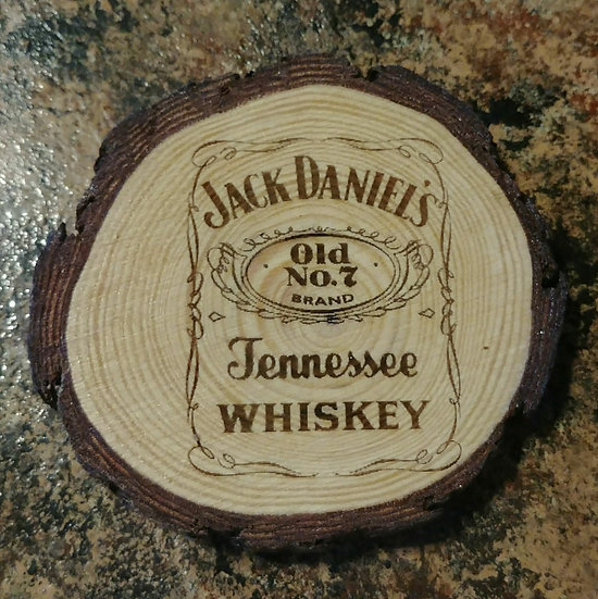 Jack Daniels 2 Live Edge Wood Coaster