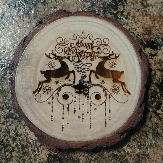 Merry Christmas Live Edge Wood Coaster