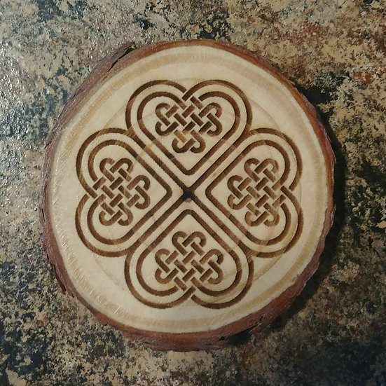 Irish Knot Live Edge Wood Coaster