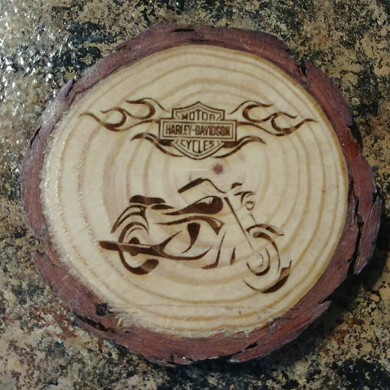 Harley Davidson Cycle Live Edge Wood Coaster