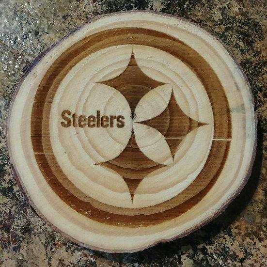 Steelers 1 Live Edge Wood Coaster