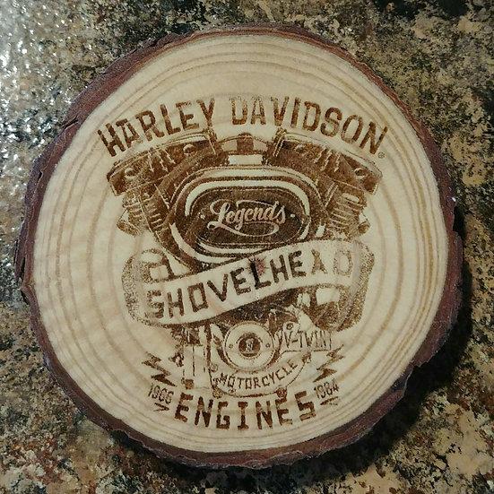 Harley Davidson Shovelhead Live Edge Wood Coaster
