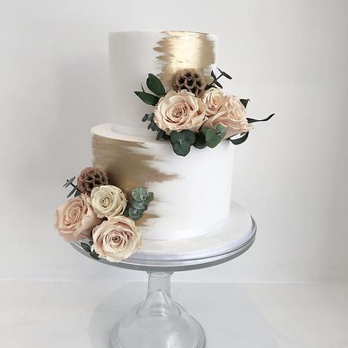 Metallic  Brushstroke Wedding Cake