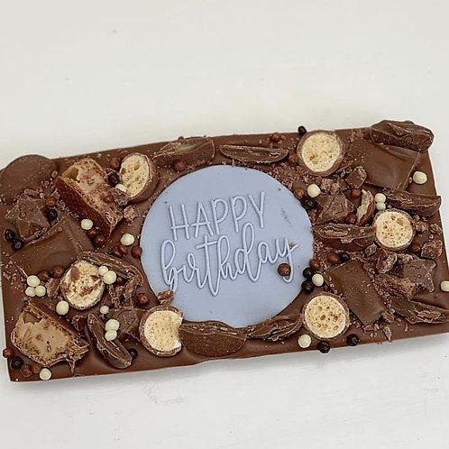 Blue Happy Birthday Chocolate Slab