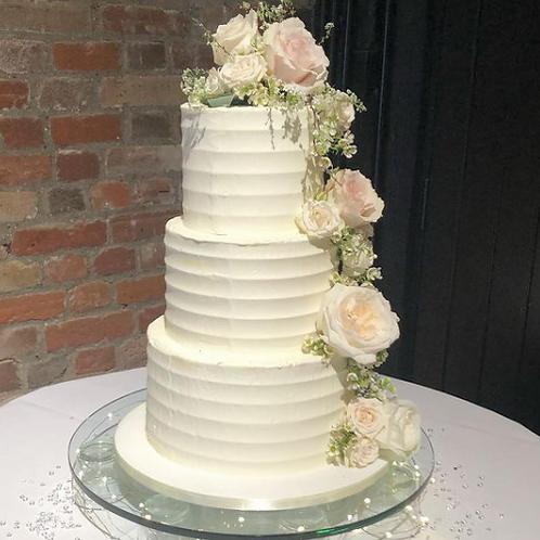 Striped Buttercream Wedding Cake