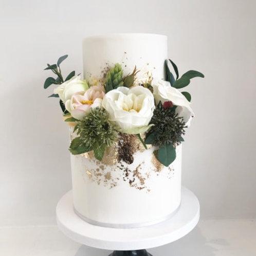 Metallic Fondant Floral Wedding Cake