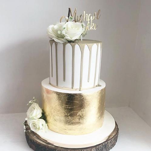 Gold and Drip Wedding Cake