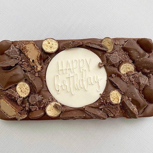 Cream Happy Birthday Chocolate Slab