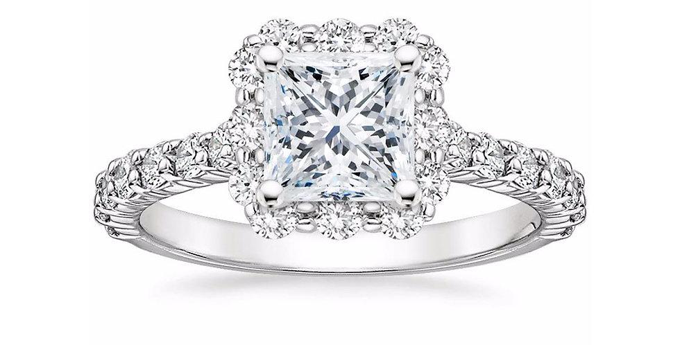"""LANA"" PRINCESS DIAMOND HALO ENGAGEMENT RING"