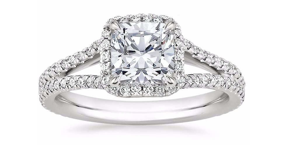 """LINDA"" CUSHION DIAMOND HALO SPLIT SHANK ENGAGEMENT RING"