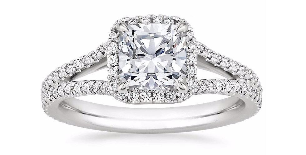 """LINDA"" CUSHION DIAMOND HALO SPLIT SHANK ENGAGEMENT RING"